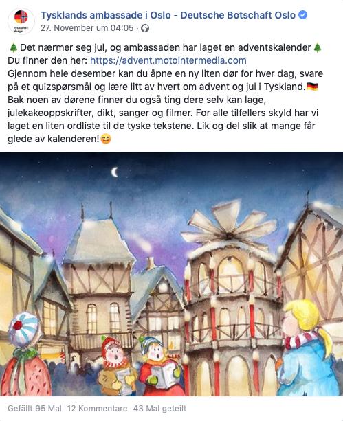 Online Adventskalender - Deutsche Botschaft Oslo